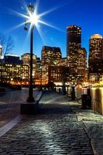 Vorschau des iPhone Hintergrundbilder Boston, Megapolis, Nacht, Stadt, Wolkenkratzer, Lichter, Fluss, USA
