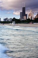 Vorschau des iPhone Hintergrundbilder Chicago, Wolkenkratzer, Meer, Wellen, Strand, Stadt, USA