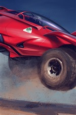 Preview iPhone wallpaper Creative design red car, speed, dirt