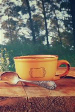 Preview iPhone wallpaper Cup, spoon, maple leaves, wood, coffee, wildflowers, glare
