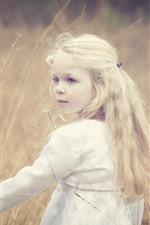 Aperçu iPhone fond d'écranJolie fille blonde, regarder en arrière, herbe, été