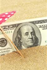 Preview iPhone wallpaper Dollar, sand, umbrella