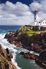 Preview iPhone wallpaper Fanad Lighthouse, rocks, sea, Ireland