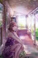 Preview iPhone wallpaper Fantasy girl, pink flowers, house, look, art picture