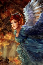 Preview iPhone wallpaper Fantasy girl, red hair, wings, art painting