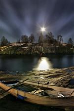 Finlândia, Helsínquia, barco, ilha, árvores, rio, noite