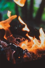 Preview iPhone wallpaper Fire, flame, coal