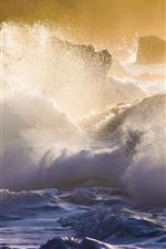 Preview iPhone wallpaper Hawaii, sea waves, storm, water splash
