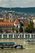 Preview iPhone wallpaper Hungary, Budapest, Danube River, ships, city