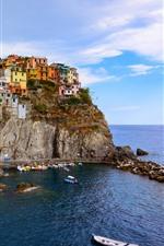 Preview iPhone wallpaper Italy, Cinque Terre, Manarola, sea, boats, houses, coast