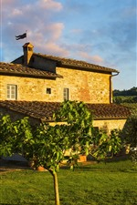 Preview iPhone wallpaper Italy, Tuscany, house, garden, trees, green meadow