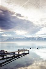 Preview iPhone wallpaper Lake Geneva, Switzerland, pier, mountains, clouds