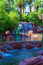 Preview iPhone wallpaper Las Vegas, palm trees, waterfall, park, USA