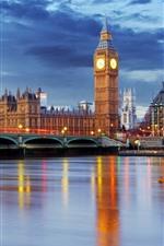 Preview iPhone wallpaper London, England, Big Ben, river, bridge, dusk, lights