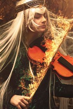 Preview iPhone wallpaper Long hair girl, violin, fire, magic, creative picture