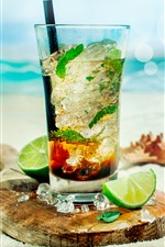 Mojito, coquetel, limão, praia, sol, mar