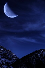 Preview iPhone wallpaper Moon, mountains, snow, night, sky, stars