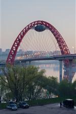 Preview iPhone wallpaper Moscow, bridge, river, city, dusk