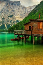 Preview iPhone wallpaper Mountains, trees, lake, pier, Italy