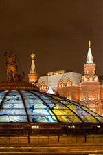 Preview iPhone wallpaper Museum, lights, night, Moscow, dome, city