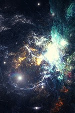 Preview iPhone wallpaper Nebula, space, galaxy, stars, bright