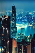Preview iPhone wallpaper Night view the city, Hong Kong, skyscrapers, lights