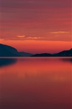 Preview iPhone wallpaper Norway, fjord, mountains, night, sea, silhouette