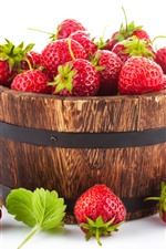 Preview iPhone wallpaper One bucket of strawberries, fruit, white background