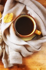 Preview iPhone wallpaper One cup coffee, book, scarf, maple leaves, still life