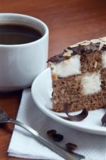Aperçu iPhone fond d'écranGâteau au chocolat un morceau, café, tasse