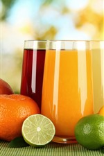 Preview iPhone wallpaper Oranges, lime, lemon, two cups of drink, juice
