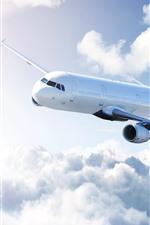 Passenger plane, sky, clouds, sunshine