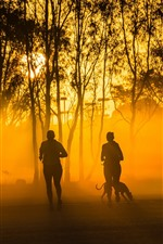 Preview iPhone wallpaper People running, trees, dog, fog, sun rays, morning