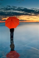 Preview iPhone wallpaper Red umbrella, people, horizon, sea, clouds, sunset