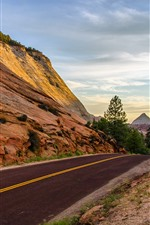 Preview iPhone wallpaper Road, rocks, trees, valley