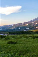 Preview iPhone wallpaper Russia, Kamchatka, mountains, grass, snow