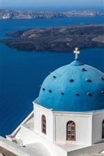 Preview iPhone wallpaper Santorini, Greece, blue sea, ship