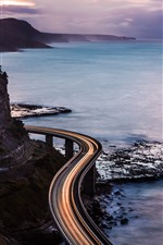 Preview iPhone wallpaper Sea, coast, road, light lines, nature scenery