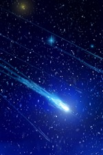 Preview iPhone wallpaper Shooting star, space, blue light