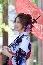Sorriso menina japonesa, quimono, guarda-chuva