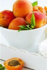 Alguns damascos, tigela, sobremesa, frutas