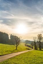 Verão, estrada, grama, árvores, nuvens, céu, raios de sol