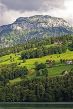 Preview iPhone wallpaper Switzerland, Lake Lucerne, mountains, trees, houses, beautiful scenery