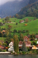 Preview iPhone wallpaper Switzerland, Lucerne, mountains, trees, houses, lake