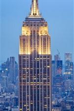 Vorschau des iPhone Hintergrundbilder Das Empire State Building, Lichter, New York City, USA