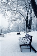Preview iPhone wallpaper Thick snow, trees, bench, winter