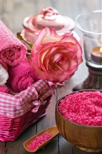 Preview iPhone wallpaper Towel, soap, rose, petals, water droplets, SPA