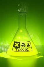 Preview iPhone wallpaper Toxic liquid, glow, green, creative picture