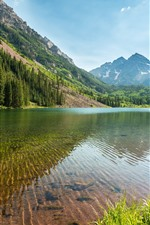 Preview iPhone wallpaper Trees, lake, clear water, mountains, Colorado, USA