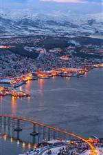 Preview iPhone wallpaper Tromso, Norway, winter, sea, bridge, snow, lights, dusk, city